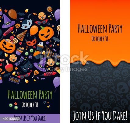istock Halloween party invitation poster card design template 490106630