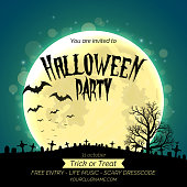 Halloween party invitation poster template with dark forest, graveyard and place for text.