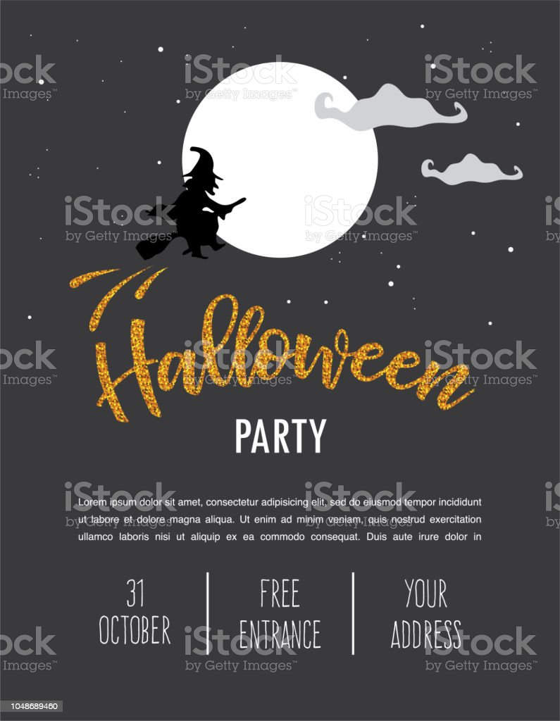 halloween party invitation template scary witch flying over a full