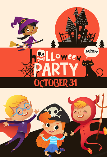 Halloween Party Invitation Template With Adorable Joyful Kids Dressed In Festive Costumes Of Witch Vampire Devil