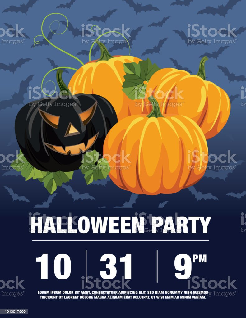 halloween party invitation template with jack o lanterns stock