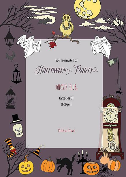 illustrations, cliparts, dessins animés et icônes de invitation à la fête d'halloween - cage animal nuit