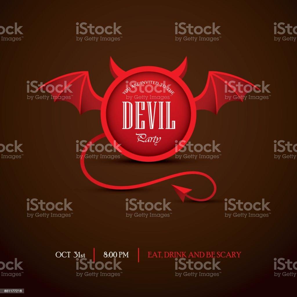 Halloweenpartyeinladung Mit Teufel Rahmen Stock Vektor Art und mehr ...