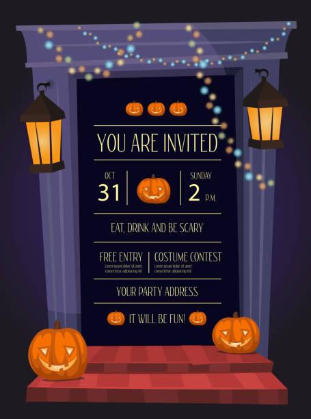 halloween party invitation with doorway - türposter stock-grafiken, -clipart, -cartoons und -symbole
