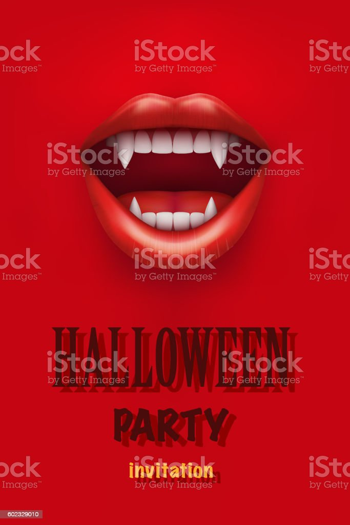 Halloween Party Invitation With Vampire Mouth Stock Vector Art ...