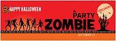 Halloween zombie party invitation. Grunge styled horizontal halloween banner with 'Happy Halloween'  and 'Zombie party' typography and with place for text. Zombie, moon, dark castle, bats and evil pumpkins. Poster. Vector.