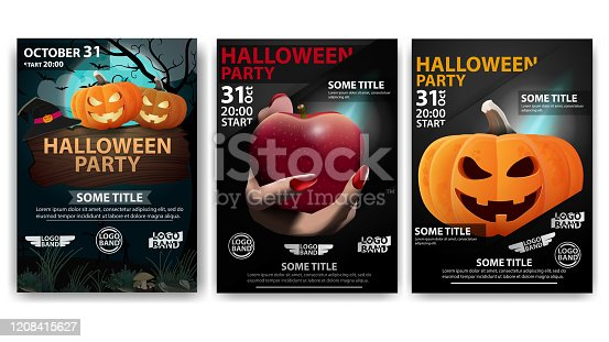 Halloween party, large set party posters for your creativity. Dark posters with Halloween pumpkins and hand holding a red Apple