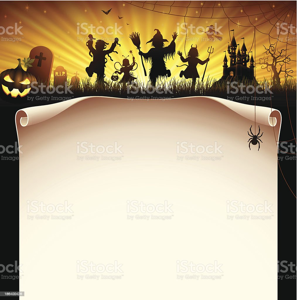 Halloween party letter head with demons dancing around vector art illustration