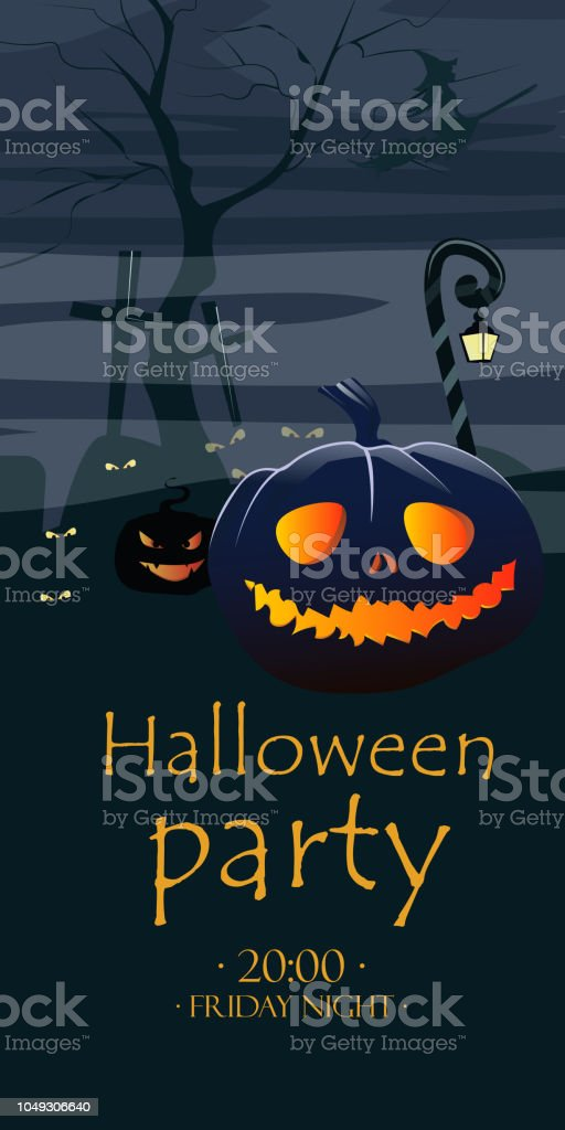 halloween party lettering and pumpkins with glowing eyes stock