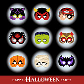 Join the Halloween party with dressed in costume masks