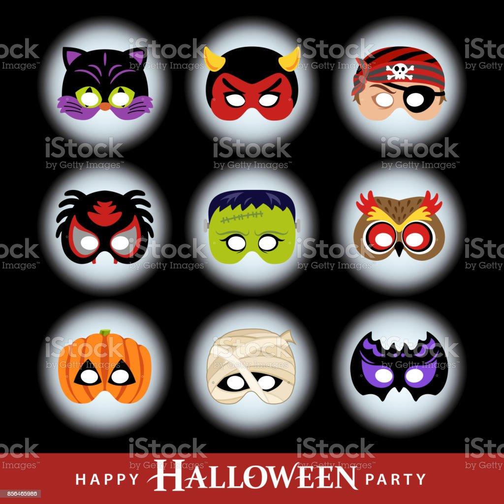 Halloween Party Masks vector art illustration