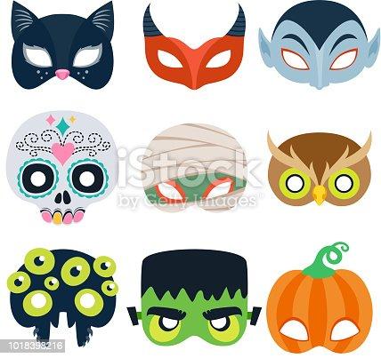 Halloween party masks vector illustration. Cat, devil, monster, pumpkin, mummy owl spider skull designs