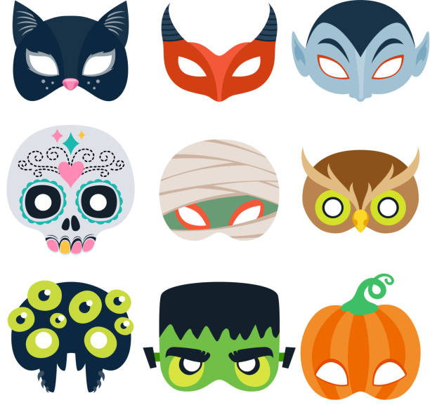 halloween party masks vector illustration. - halloween stock illustrations, clip art, cartoons, & icons