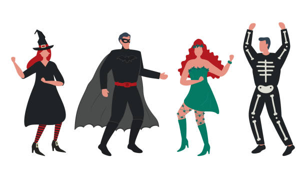 Halloween party. Masquerade. People in Halloween costumes are dancing vector art illustration