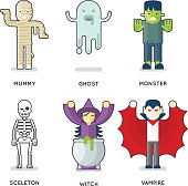 Halloween Party Monster Roles Characters Icons Set Isolated Flat Design