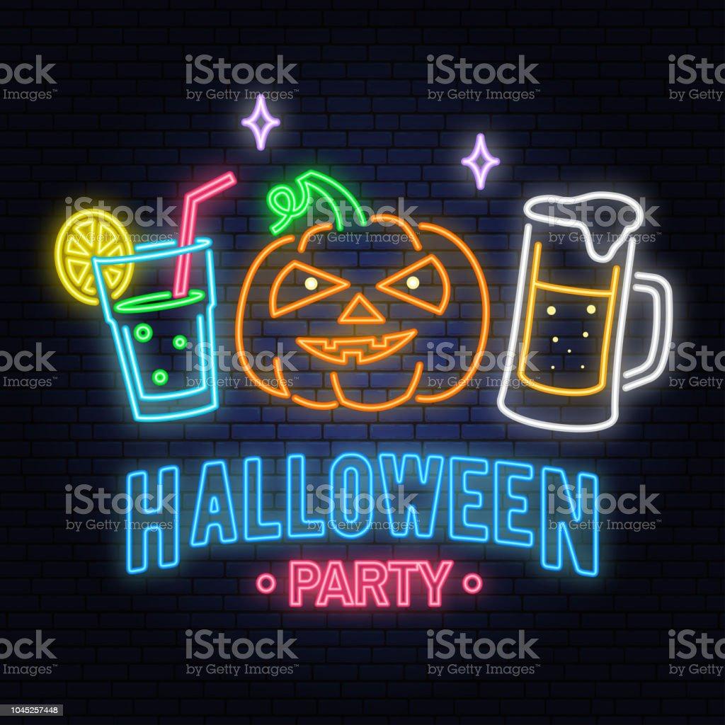 Halloween Bier.Halloween Party Lichtreclame Vectorillustratie Happy