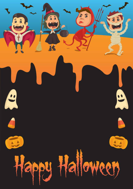 Halloween Party Peeps vector art illustration