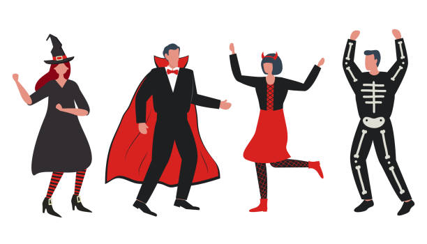 Halloween party. People in Halloween costumes vector art illustration