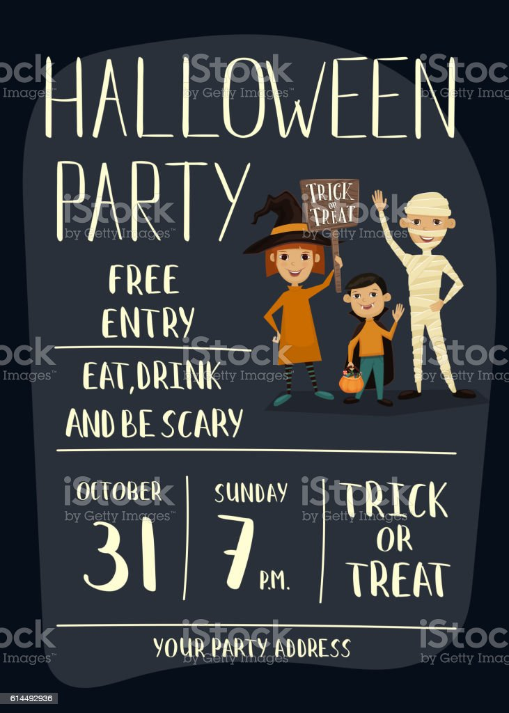 halloween party poster design with kids お祝いのベクターアート素材