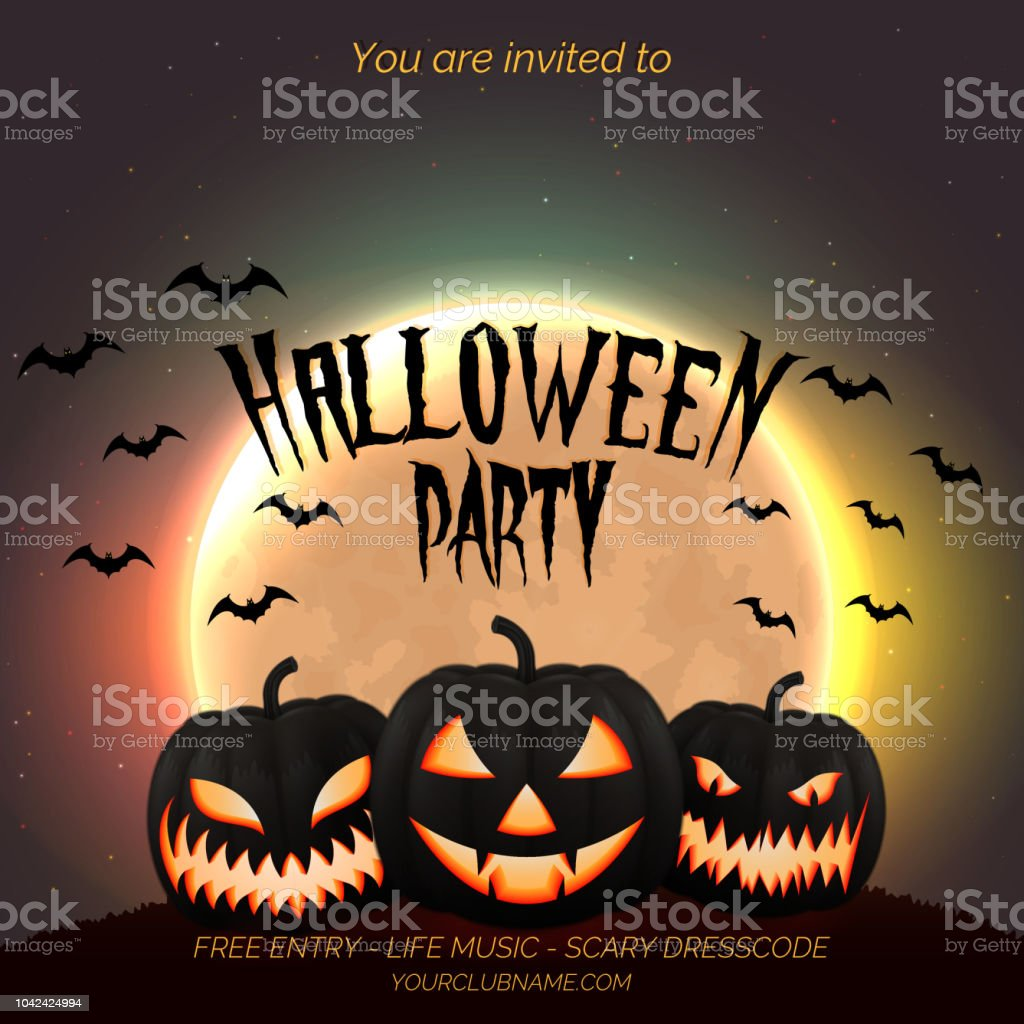 halloween party poster flyer template with dark pumpkins and moon
