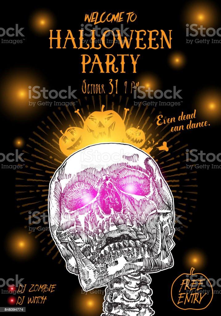 Ilustración De Cartel Fiesta De Halloween Mano Dibuja