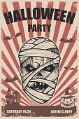 Halloween party poster template. Mummy head.Trick or treat. Halloween monsters.