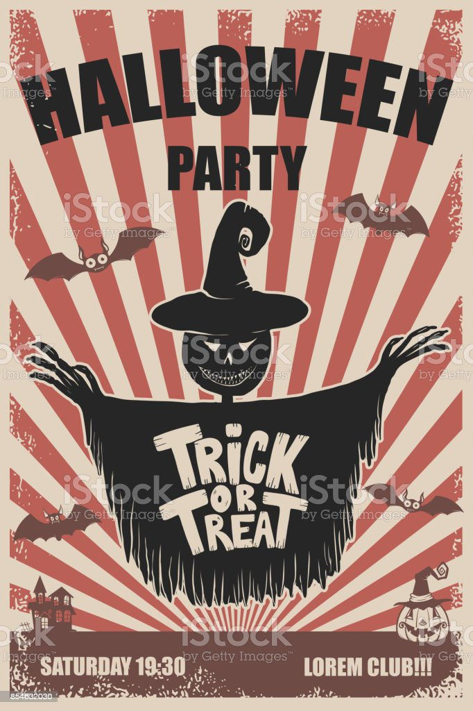 halloween party poster template scarecrowtrick or treat halloween
