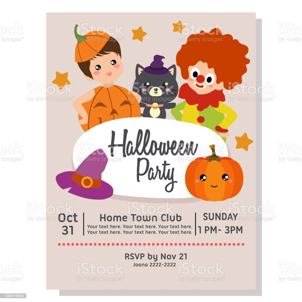 halloween party poster template with clown kids stock vector art