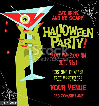 Halloween party poster template with monster hand holding martini glass filled with blood and eyeball. For posters, web banners, cards, invitations.