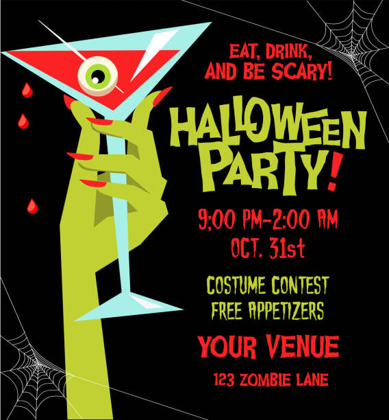 Halloween party poster template with monster hand holding martini glass filled with blood and eyeball. vector art illustration