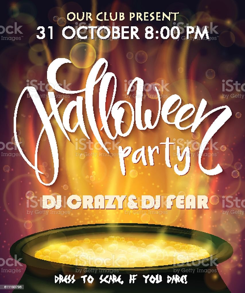 halloween party poster with lettering label and boiling witch cauldron vector art illustration