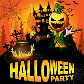 istock Halloween Party Poster with Pumpkin Cartoon Character. Vector illustration. 1040941540