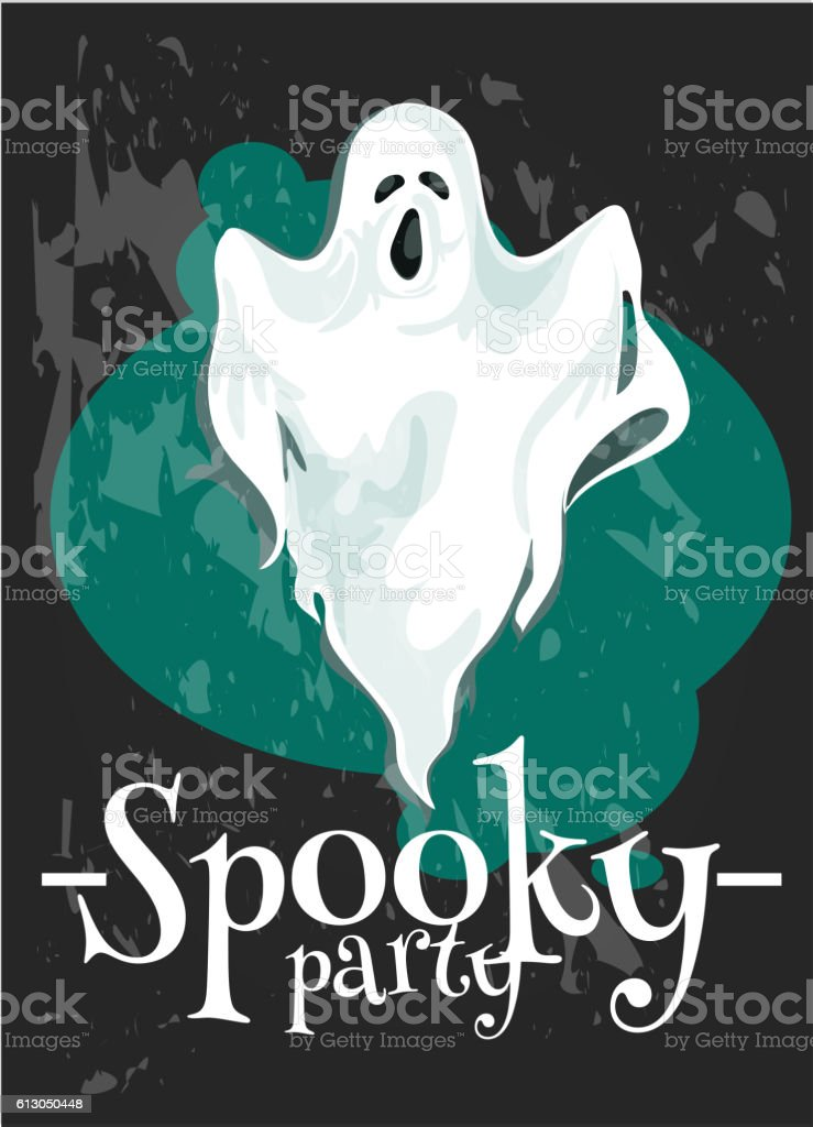 Halloween Party poster with spooky ghost vector art illustration