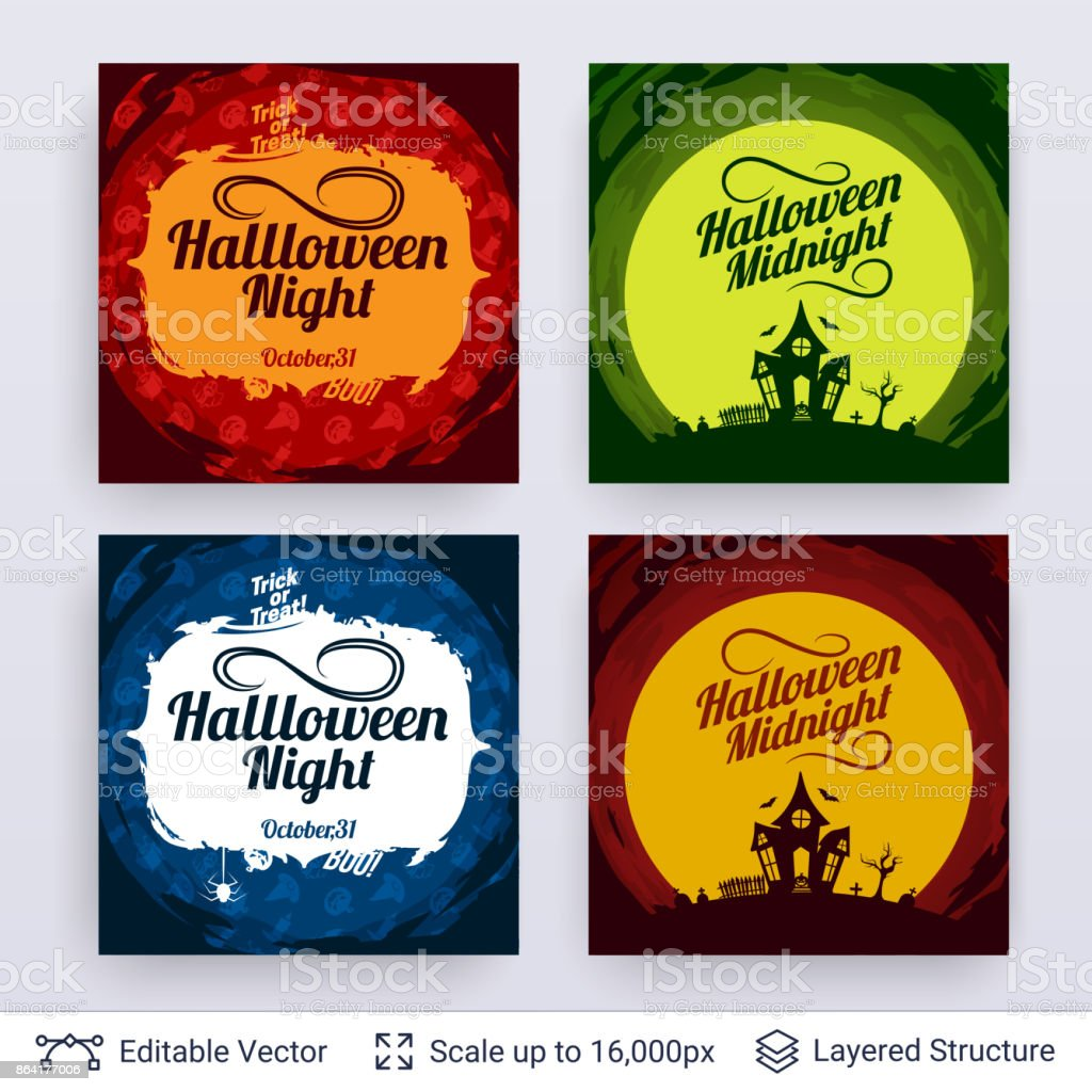 Halloween party posters set. royalty-free halloween party posters set stock vector art & more images of autumn