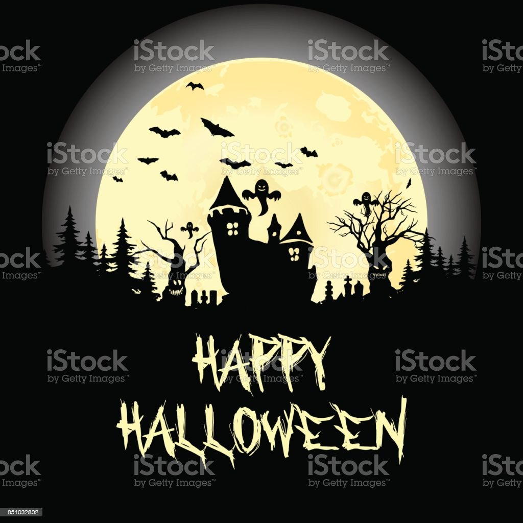 halloween party pumpkin trees bats and full moon halloween poster