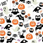 A repeatable pattern of Halloween party themed icons. See below for an icon set of this file.