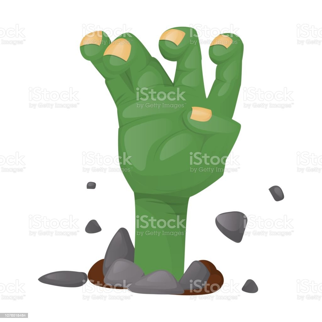 Halloween Party Scary Zombie Hand Spooky Character Vector