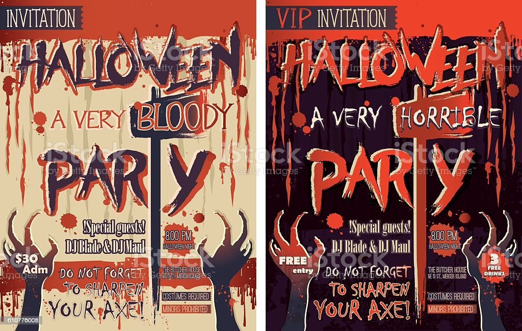 Halloween party set of two vertical letter size invitation cards halloween party set of two vertical letter size invitation cards royalty free stock vector art stopboris Choice Image