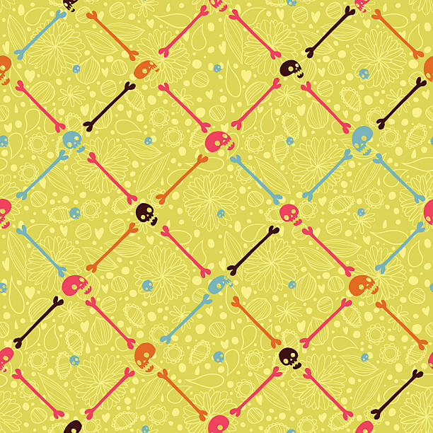Halloween party skull background seamless pattern. vector art illustration