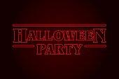 Halloween Party text, eighties design. Editable vector design.