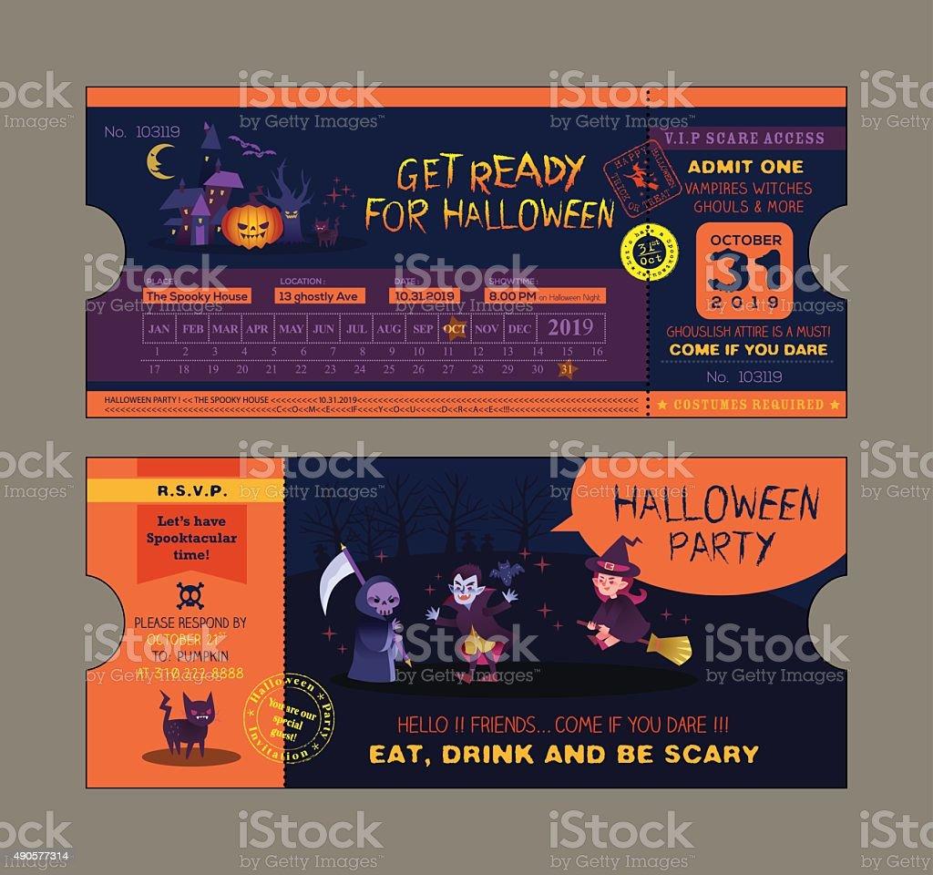 ハロウィーンパーティーのチケットカードテンプレート 2015年の