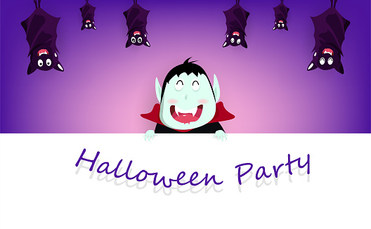 Halloween party, vampire and bats hanging cute cartoon character for kids, celebration festival poster, invitation card holiday background vector illustration