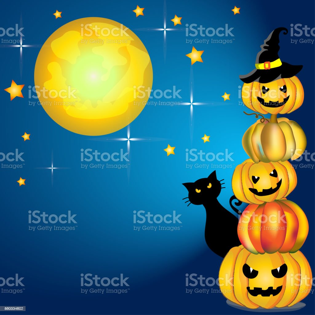 Halloween party vector and illustration card with pumpkins lantern, witch hat, black cat and full moon and starring night, cute cartoon theme vector art illustration
