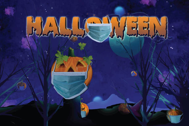 Halloween party Halloween party .Social distance halloween covid stock illustrations