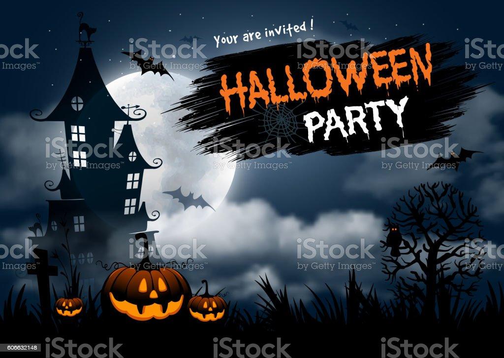 Halloween party vector art illustration