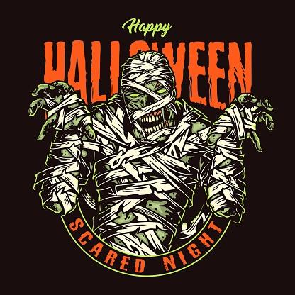Halloween party vintage emblem