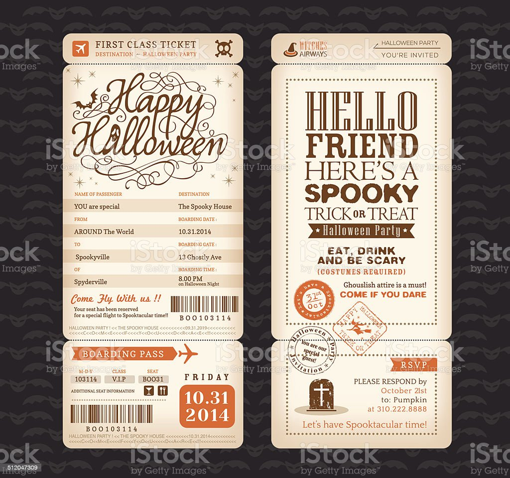 Halloween party Vintage style Boarding Pass Ticket Vector Templa