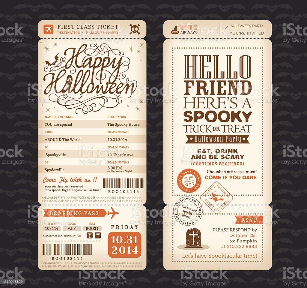 Vintage-Stil Halloween party-Ticket Vektor Templa Bordkarten – Vektorgrafik