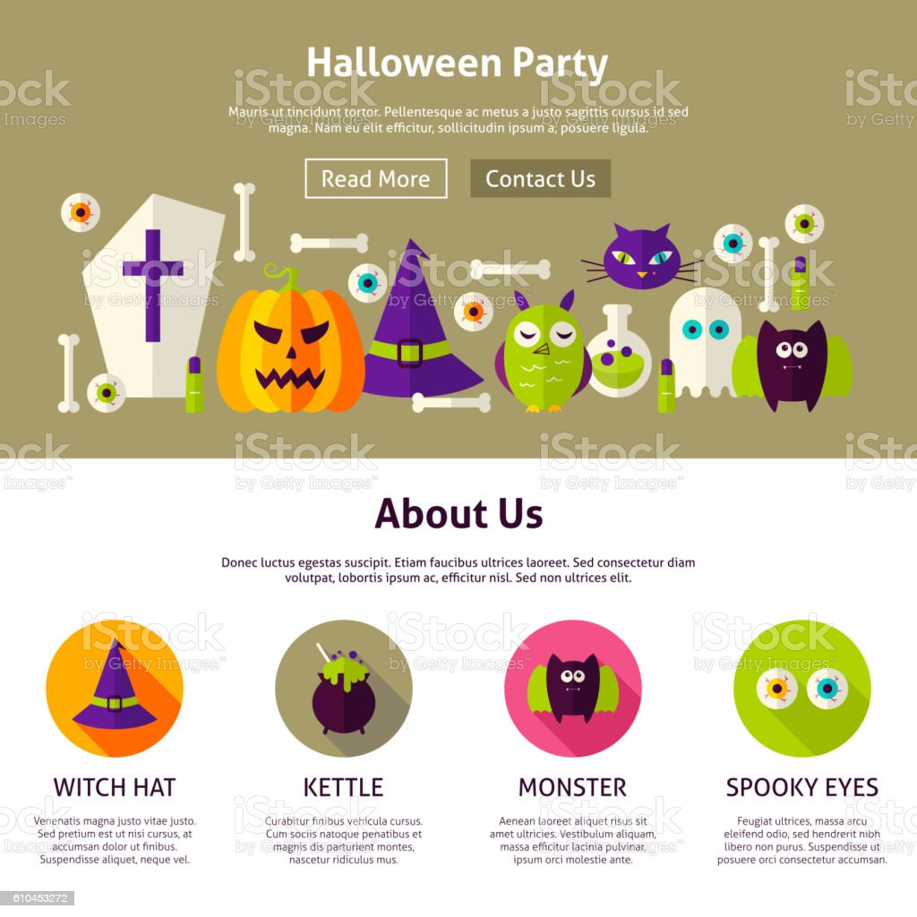 halloween party web design template stock vector art more images