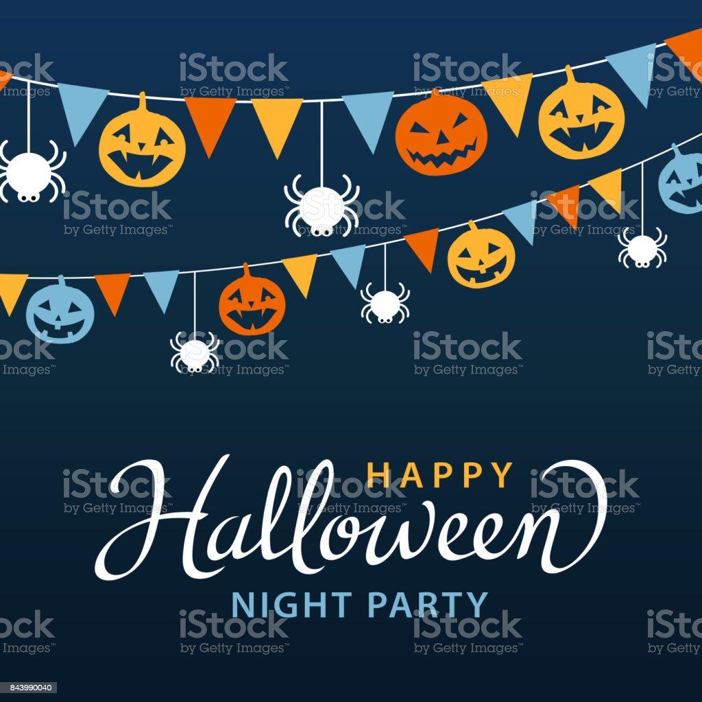 Halloween-Party mit Bunting – Vektorgrafik